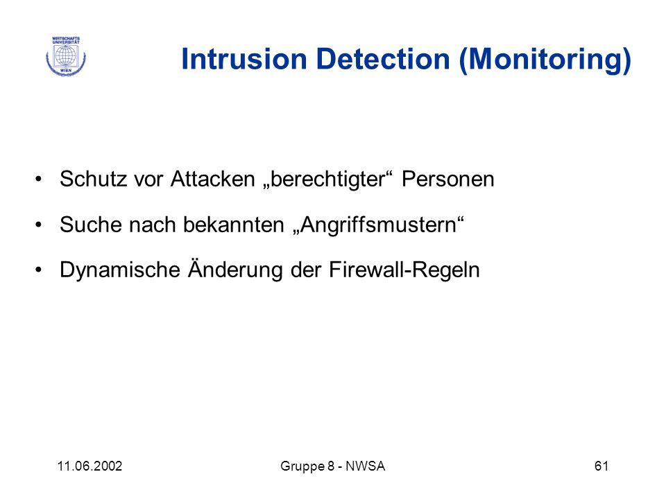 11.06.2002Gruppe 8 - NWSA61 Intrusion Detection (Monitoring) Schutz vor Attacken berechtigter Personen Suche nach bekannten Angriffsmustern Dynamische