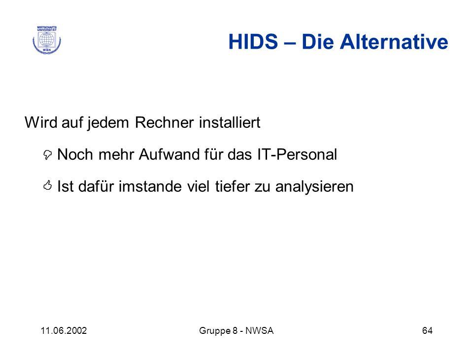 11.06.2002Gruppe 8 - NWSA64 HIDS – Die Alternative Wird auf jedem Rechner installiert Noch mehr Aufwand für das IT-Personal Ist dafür imstande viel ti