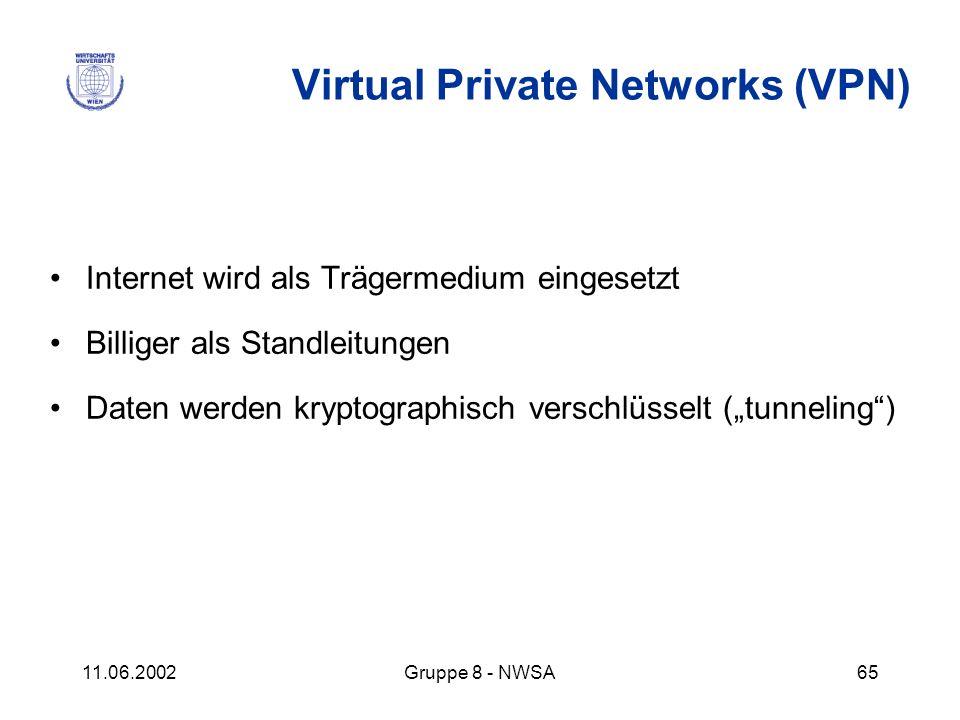 11.06.2002Gruppe 8 - NWSA65 Virtual Private Networks (VPN) Internet wird als Trägermedium eingesetzt Billiger als Standleitungen Daten werden kryptogr