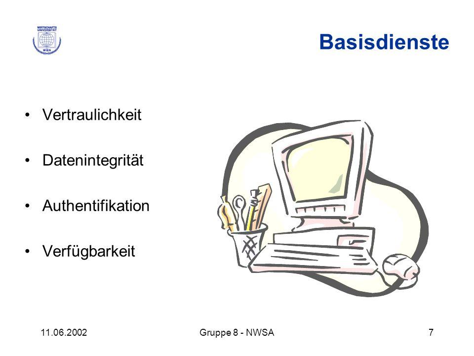 11.06.2002Gruppe 8 - NWSA7 Vertraulichkeit Datenintegrität Authentifikation Verfügbarkeit Basisdienste