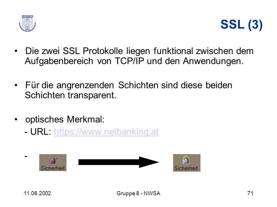 11.06.2002Gruppe 8 - NWSA71 SSL (3) Die zwei SSL Protokolle liegen funktional zwischen dem Aufgabenbereich von TCP/IP und den Anwendungen. Für die ang