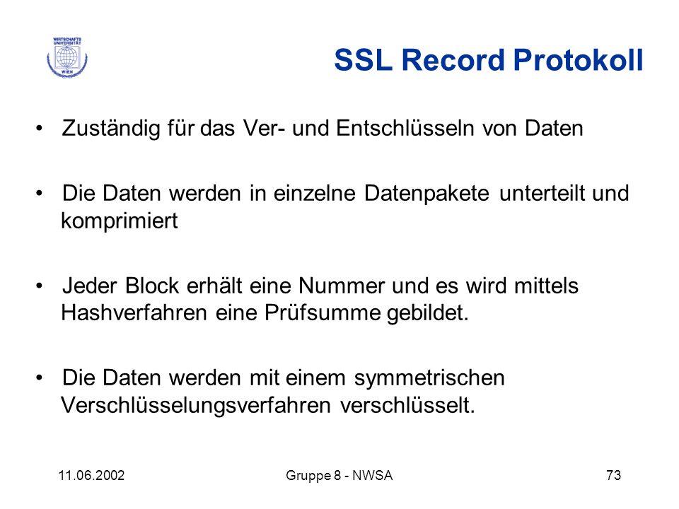 11.06.2002Gruppe 8 - NWSA73 SSL Record Protokoll Zuständig für das Ver- und Entschlüsseln von Daten Die Daten werden in einzelne Datenpakete unterteil