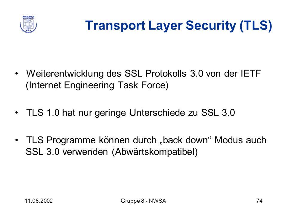 11.06.2002Gruppe 8 - NWSA74 Transport Layer Security (TLS) Weiterentwicklung des SSL Protokolls 3.0 von der IETF (Internet Engineering Task Force) TLS