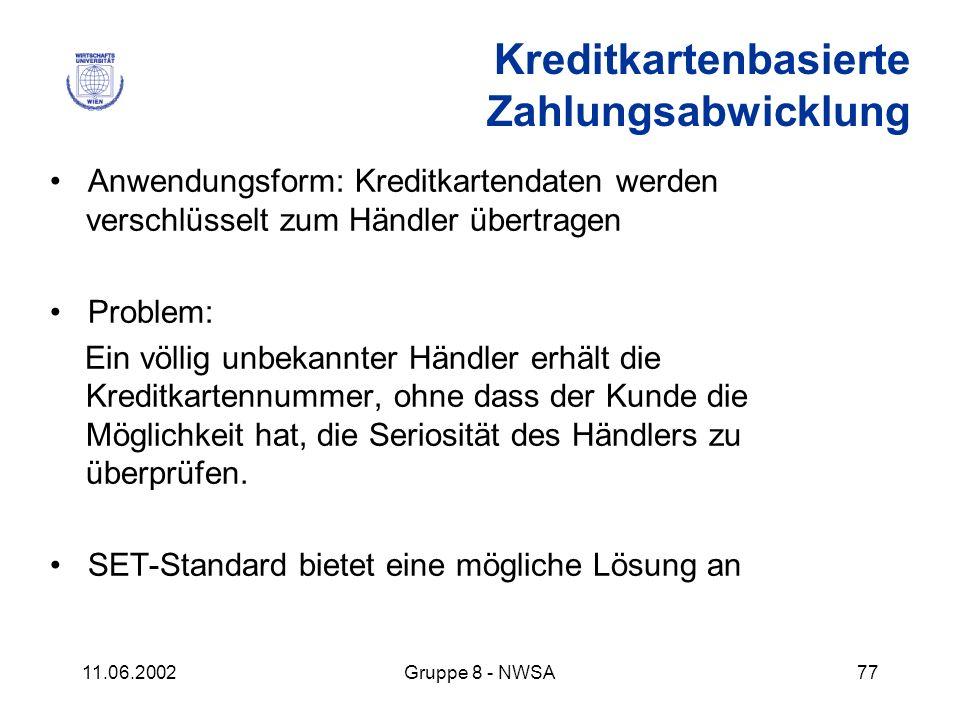 11.06.2002Gruppe 8 - NWSA77 Kreditkartenbasierte Zahlungsabwicklung Anwendungsform: Kreditkartendaten werden verschlüsselt zum Händler übertragen Prob