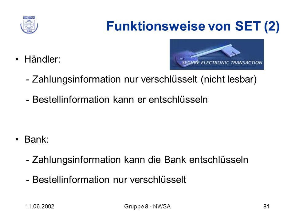 11.06.2002Gruppe 8 - NWSA81 Funktionsweise von SET (2) Händler: - Zahlungsinformation nur verschlüsselt (nicht lesbar) - Bestellinformation kann er en