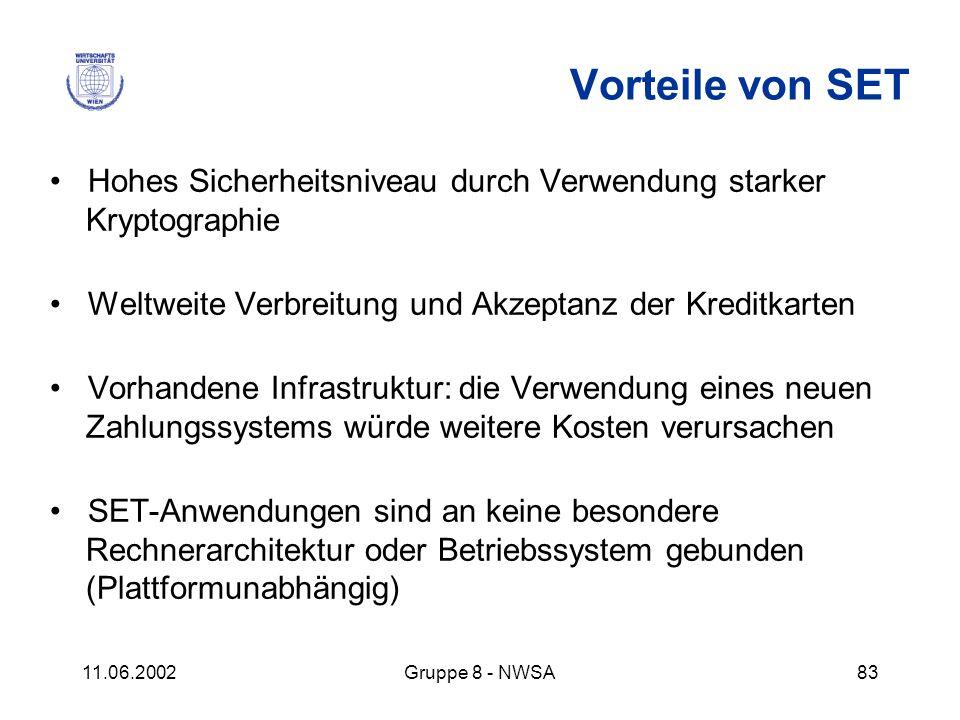 11.06.2002Gruppe 8 - NWSA83 Vorteile von SET Hohes Sicherheitsniveau durch Verwendung starker Kryptographie Weltweite Verbreitung und Akzeptanz der Kr
