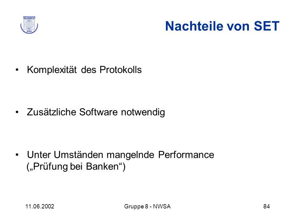 11.06.2002Gruppe 8 - NWSA84 Nachteile von SET Komplexität des Protokolls Zusätzliche Software notwendig Unter Umständen mangelnde Performance (Prüfung