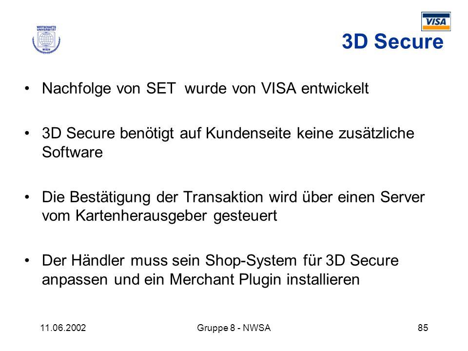 11.06.2002Gruppe 8 - NWSA85 3D Secure Nachfolge von SET wurde von VISA entwickelt 3D Secure benötigt auf Kundenseite keine zusätzliche Software Die Be