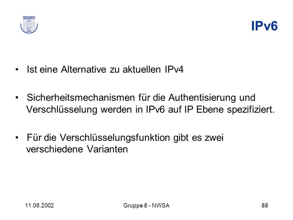 11.06.2002Gruppe 8 - NWSA88 IPv6 Ist eine Alternative zu aktuellen IPv4 Sicherheitsmechanismen für die Authentisierung und Verschlüsselung werden in I