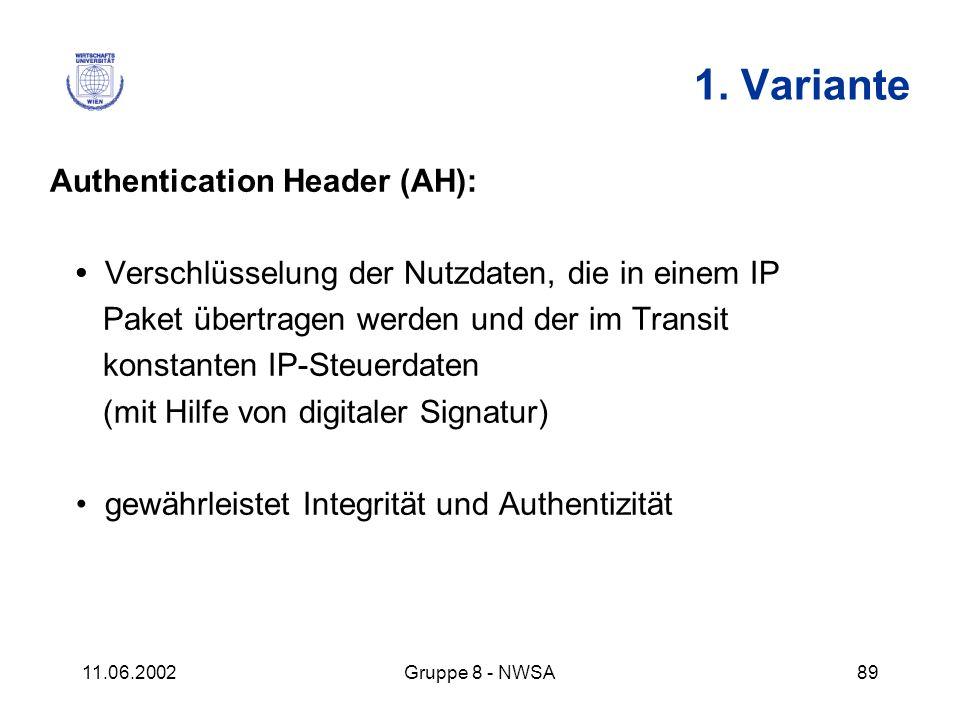 11.06.2002Gruppe 8 - NWSA89 1. Variante Authentication Header (AH): Verschlüsselung der Nutzdaten, die in einem IP Paket übertragen werden und der im