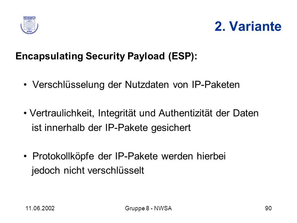 11.06.2002Gruppe 8 - NWSA90 2. Variante Encapsulating Security Payload (ESP): Verschlüsselung der Nutzdaten von IP-Paketen Vertraulichkeit, Integrität