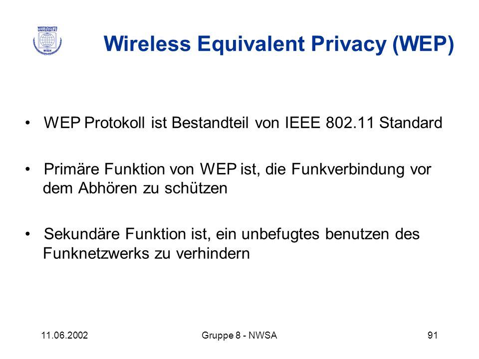 11.06.2002Gruppe 8 - NWSA91 Wireless Equivalent Privacy (WEP) WEP Protokoll ist Bestandteil von IEEE 802.11 Standard Primäre Funktion von WEP ist, die