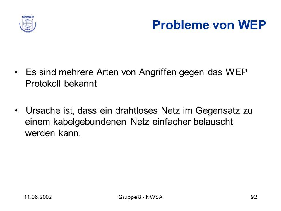 11.06.2002Gruppe 8 - NWSA92 Probleme von WEP Es sind mehrere Arten von Angriffen gegen das WEP Protokoll bekannt Ursache ist, dass ein drahtloses Netz