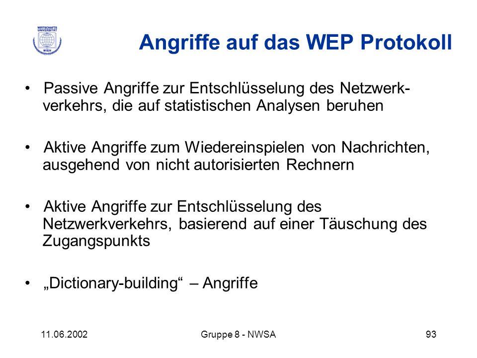 11.06.2002Gruppe 8 - NWSA93 Angriffe auf das WEP Protokoll Passive Angriffe zur Entschlüsselung des Netzwerk- verkehrs, die auf statistischen Analysen