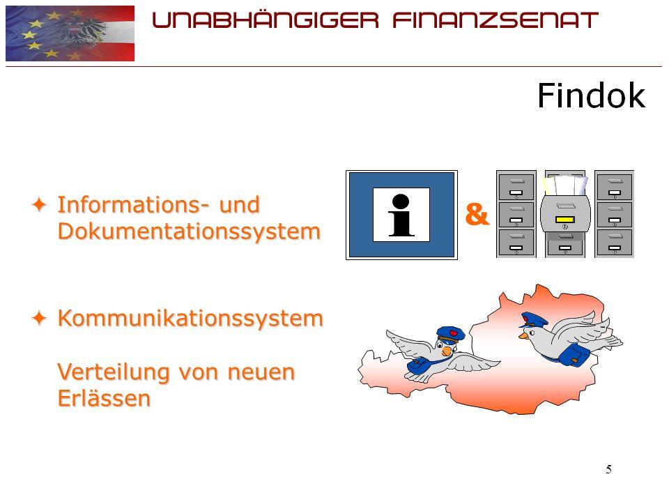 UNABHÄNGIGER FINANZSENAT 5 Informations- und Dokumentationssystem Informations- und Dokumentationssystem Kommunikationssystem Verteilung von neuen Erlässen Kommunikationssystem Verteilung von neuen Erlässen &