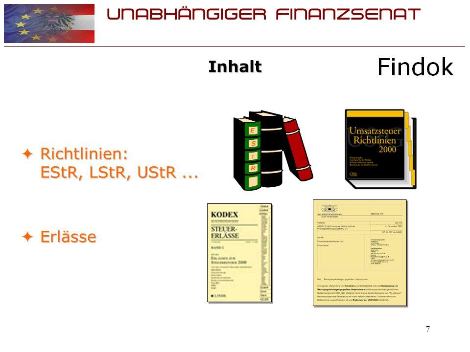 UNABHÄNGIGER FINANZSENAT 8 Inhalt EAS – Express Antwort Service (auslandbezogen) EAS – Express Antwort Service (auslandbezogen) UFS - Entscheidungen und Rechtssätze UFS - Entscheidungen und Rechtssätze