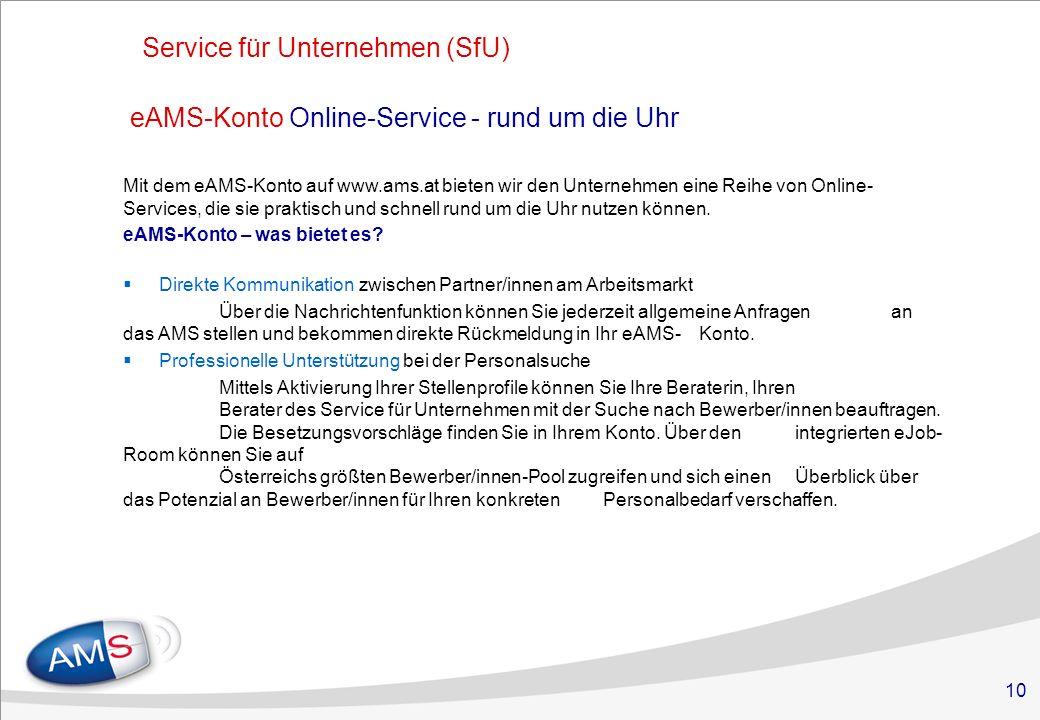 10 eAMS-Konto Online-Service - rund um die Uhr Mit dem eAMS-Konto auf www.ams.at bieten wir den Unternehmen eine Reihe von Online- Services, die sie praktisch und schnell rund um die Uhr nutzen können.