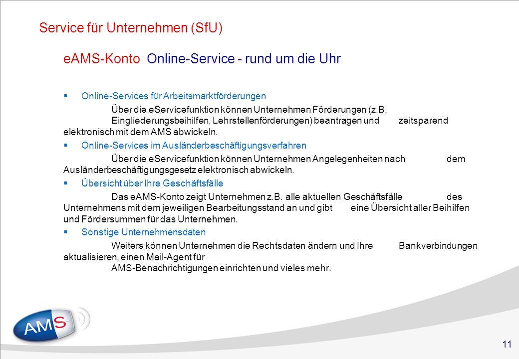 11 Service für Unternehmen (SfU) Online-Services für Arbeitsmarktförderungen Über die eServicefunktion können Unternehmen Förderungen (z.B. Einglieder