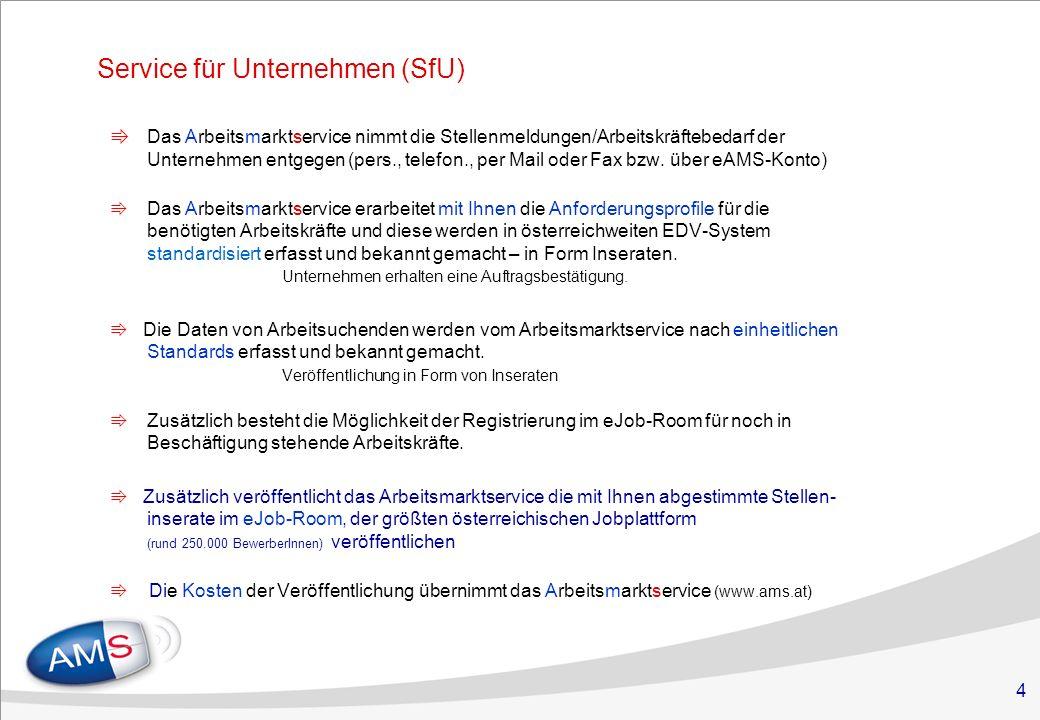 4 Service für Unternehmen (SfU) Das Arbeitsmarktservice nimmt die Stellenmeldungen/Arbeitskräftebedarf der Unternehmen entgegen (pers., telefon., per