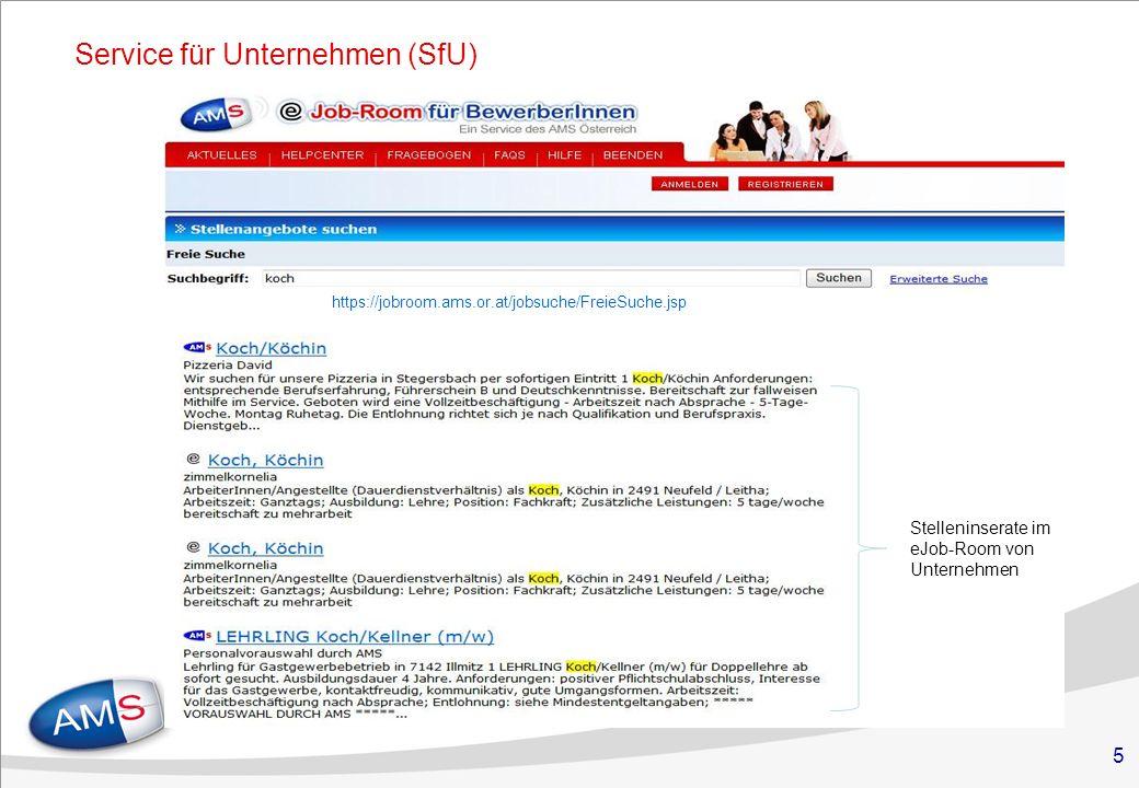 5 Service für Unternehmen (SfU) Stelleninserate im eJob-Room von Unternehmen https://jobroom.ams.or.at/jobsuche/FreieSuche.jsp
