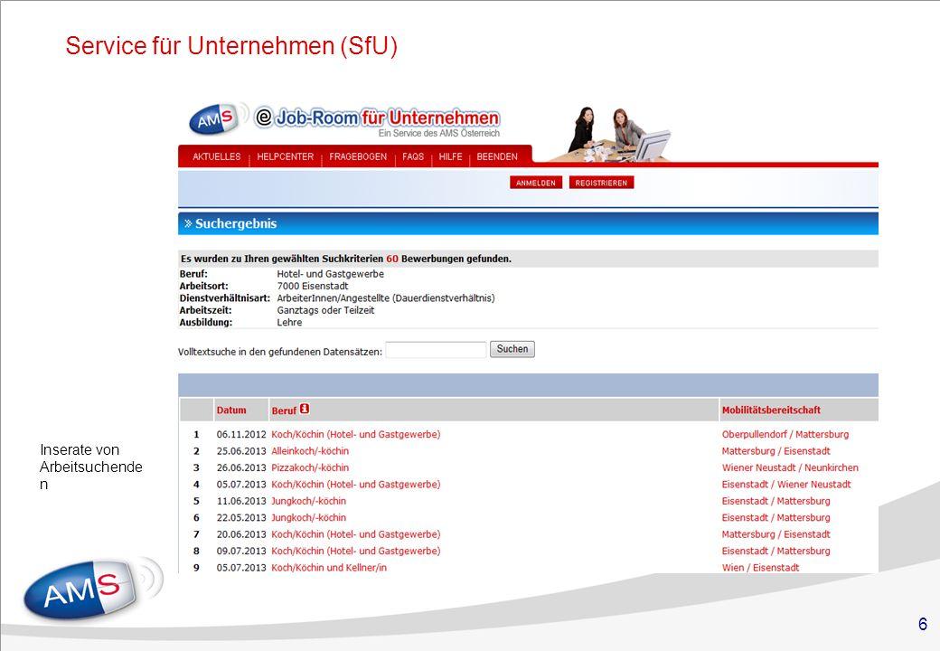 6 Service für Unternehmen (SfU) Inserate von Arbeitsuchende n
