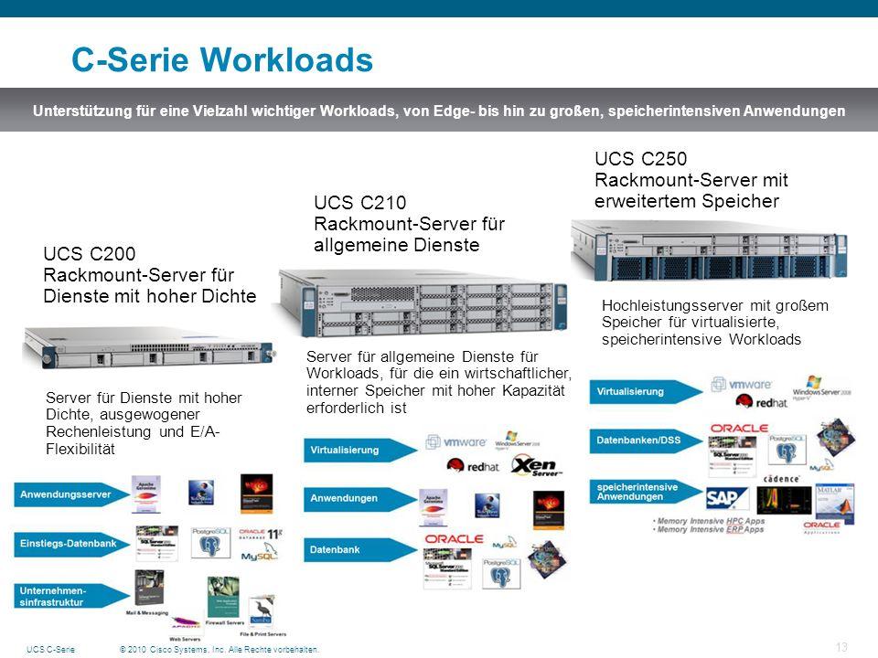 © 2010 Cisco Systems, Inc. Alle Rechte vorbehalten.UCS C-Serie 13 C-Serie Workloads Unterstützung für eine Vielzahl wichtiger Workloads, von Edge- bis