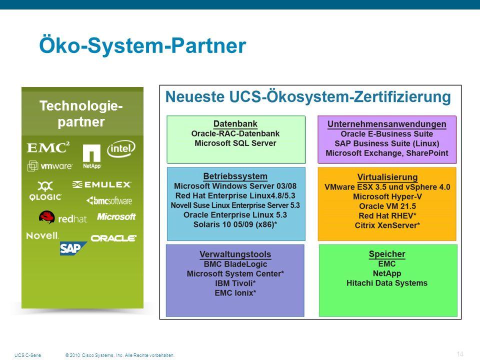 © 2010 Cisco Systems, Inc. Alle Rechte vorbehalten.UCS C-Serie 14 Öko-System-Partner Technologie- partner
