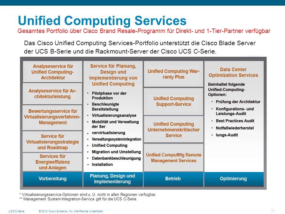 © 2010 Cisco Systems, Inc. Alle Rechte vorbehalten.UCS C-Serie 20 Unified Computing Services Gesamtes Portfolio über Cisco Brand Resale-Programm für D