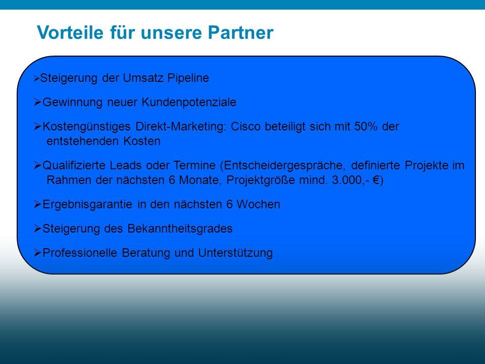 © 2009 Cisco Systems, Inc. All rights reserved.Cisco Confidential Marketing Update Q3 FY10 29 Vorteile für unsere Partner Ihre Vorteile Steigerung der