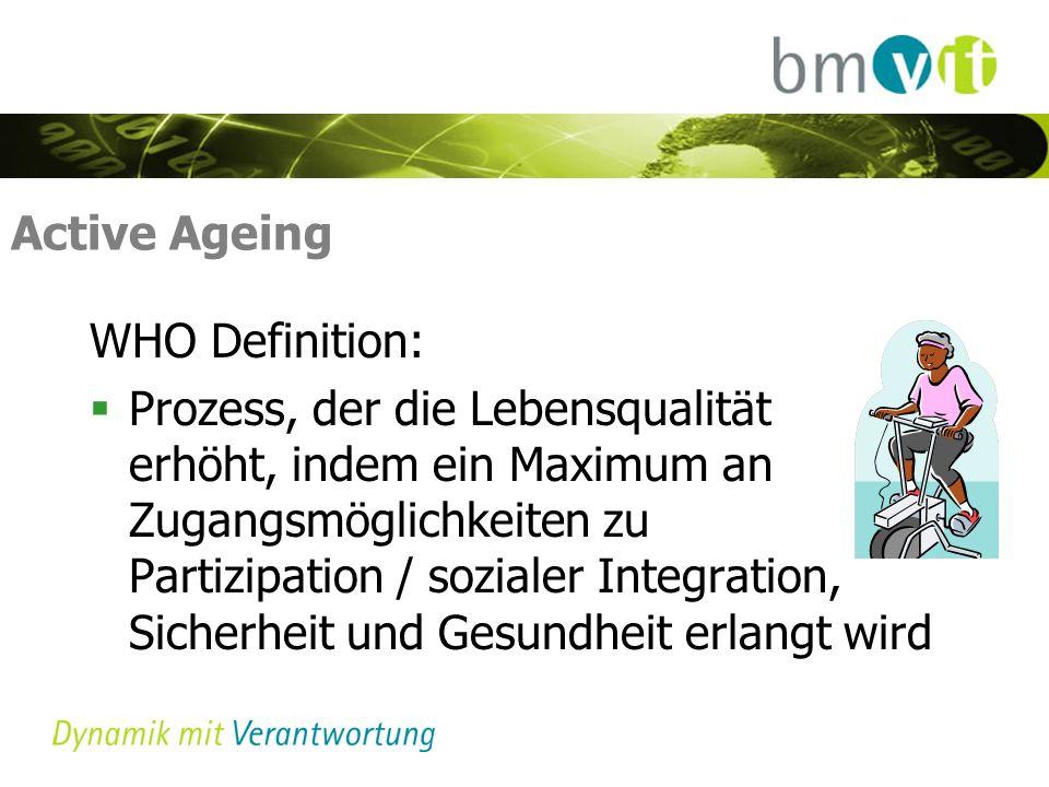 Active Ageing WHO Definition: Prozess, der die Lebensqualität erhöht, indem ein Maximum an Zugangsmöglichkeiten zu Partizipation / sozialer Integration, Sicherheit und Gesundheit erlangt wird