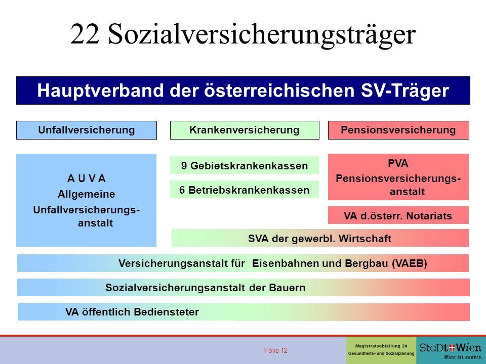Folie 12 Hauptverband der österreichischen SV-Träger UnfallversicherungKrankenversicherungPensionsversicherung A U V A Allgemeine Unfallversicherungs- anstalt 9 Gebietskrankenkassen 6 Betriebskrankenkassen PVA Pensionsversicherungs- anstalt VA d.österr.