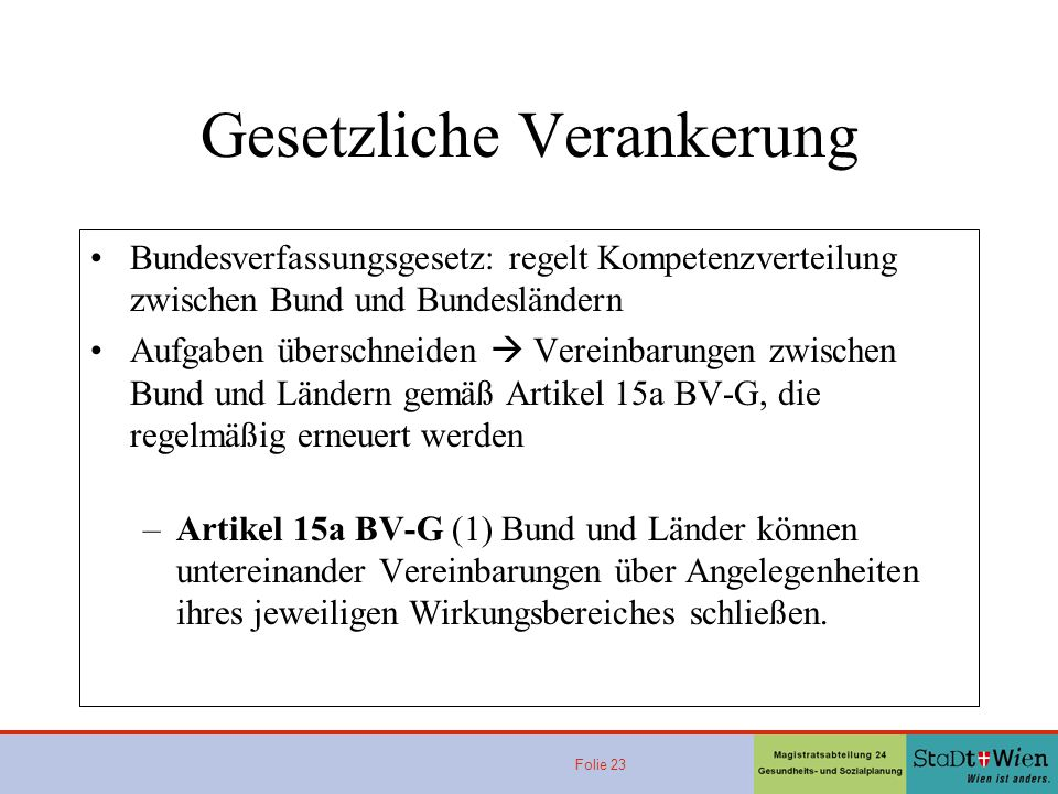 Folie 23 Gesetzliche Verankerung Bundesverfassungsgesetz: regelt Kompetenzverteilung zwischen Bund und Bundesländern Aufgaben überschneiden Vereinbarungen zwischen Bund und Ländern gemäß Artikel 15a BV-G, die regelmäßig erneuert werden –Artikel 15a BV-G (1) Bund und Länder können untereinander Vereinbarungen über Angelegenheiten ihres jeweiligen Wirkungsbereiches schließen.