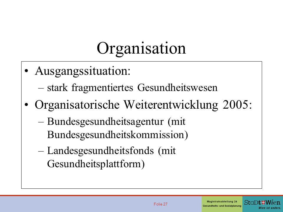 Folie 27 Organisation Ausgangssituation: –stark fragmentiertes Gesundheitswesen Organisatorische Weiterentwicklung 2005: –Bundesgesundheitsagentur (mi