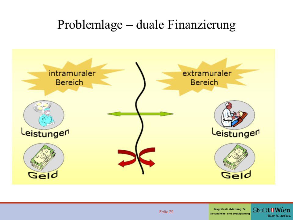 Folie 29 Problemlage – duale Finanzierung