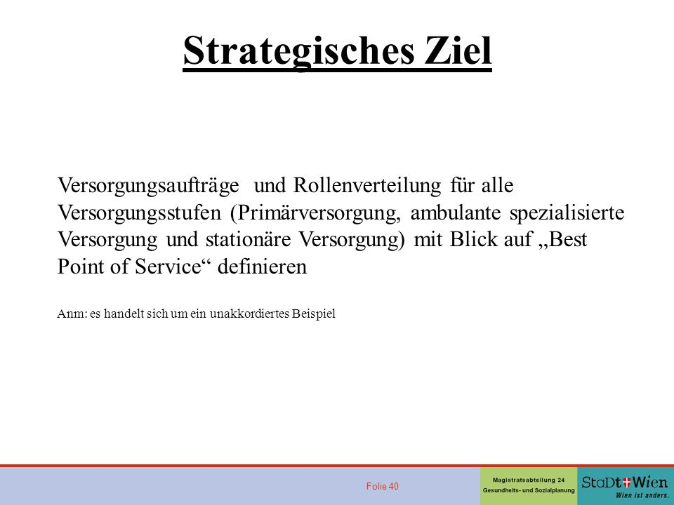 Folie 40 Strategisches Ziel Versorgungsaufträge und Rollenverteilung für alle Versorgungsstufen (Primärversorgung, ambulante spezialisierte Versorgung