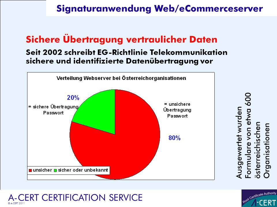 © A-CERT 2011 A-CERT CERTIFICATION SERVICE Sichere Übertragung vertraulicher Daten Seit 2002 schreibt EG-Richtlinie Telekommunikation sichere und iden