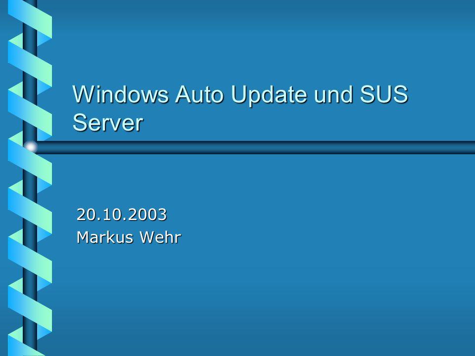 Automatisches Windows Update Die Aktuelle Version des automatischen Update ist in folgenden Windows Versionen enthalten (Client 2.2) Windows 2000 SP3 (WS und Server) Windows 2000 SP3 (WS und Server) Windows XP SP1 Windows XP SP1 Windows 2003 Server Windows 2003 Server Auf vorherigen Versionen (nur Windows 2000 SP2 und Windows XP RTM, nicht NT4) kann ein Update installiert werden: wuau22*.msi www.microsoft.com/windows2000/downloads/ recommended/susclient/default.asp