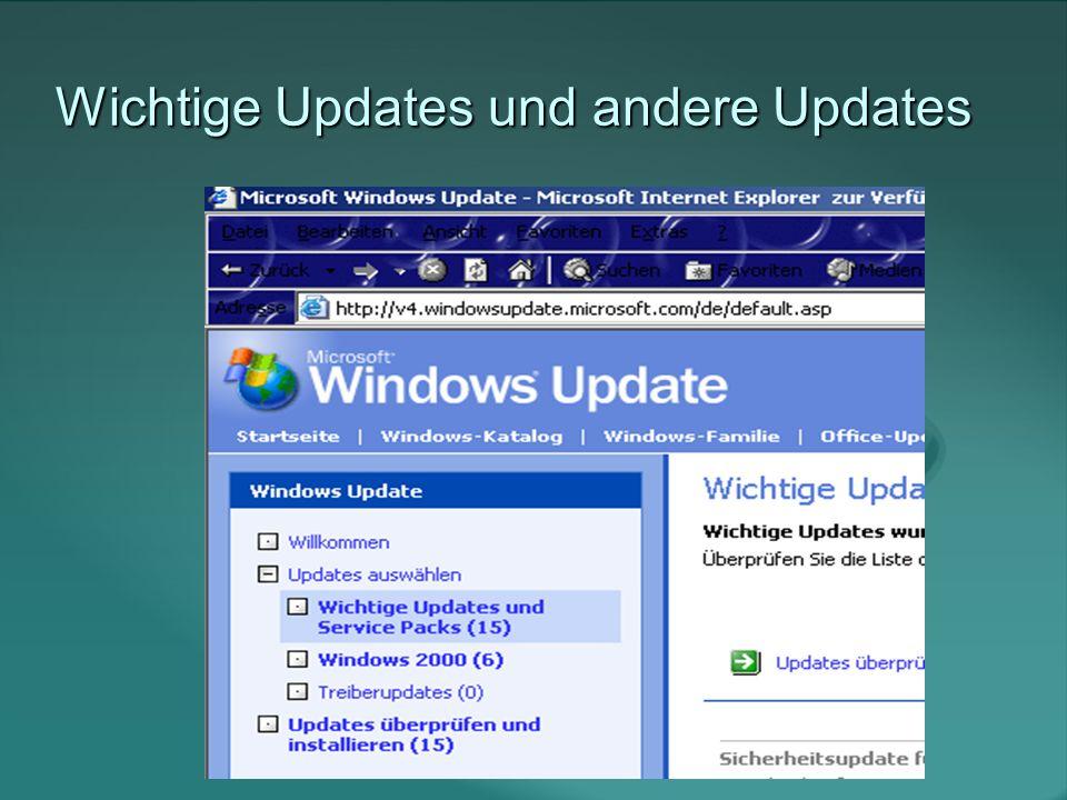 Kompatibilitätsprobleme bei Updates Keine Updates zu installieren ist deutlich schlimmer, als die theoretische Gefahr ein Update zerschießt eine Software oder Funktion.
