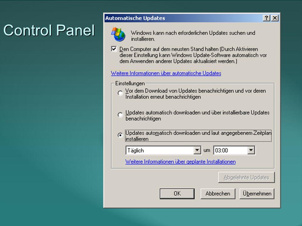 Auto Update Service Ablauf Mit oben gezeigter Einstellung: Alle 17-22 Stunden Kontaktiert der Client windowsupdate.microsoft.com.