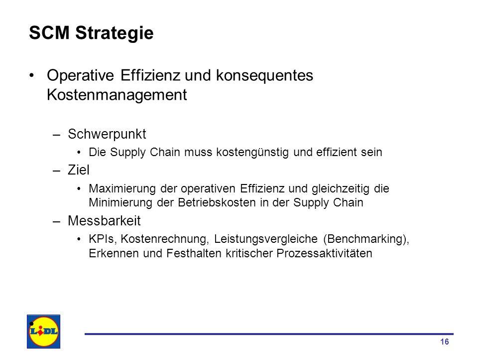 17 SCM Strategie Operative Effizienz und konsequentes Kostenmanagement –Umsetzung Kosten- und Prozesstransparenz: –Definieren von KPI, Kostenrechnung erstellen, KVP (fortlaufendes Erkennen und Optimieren von Schwachstellen im Prozess) Tiefe Beschaffungskosten, z.B.