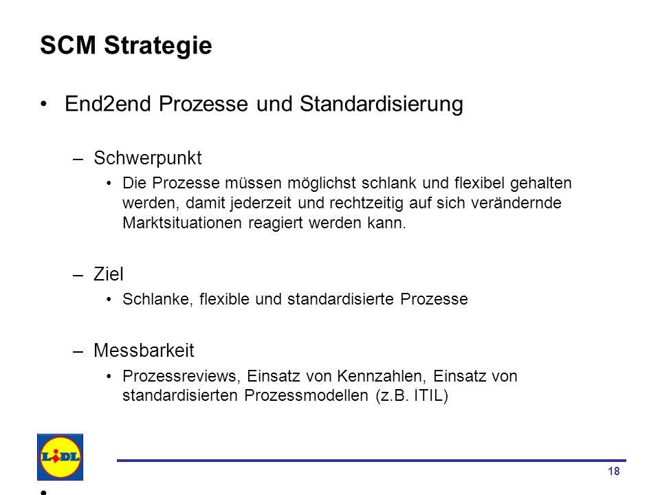 18 SCM Strategie End2end Prozesse und Standardisierung –Schwerpunkt Die Prozesse müssen möglichst schlank und flexibel gehalten werden, damit jederzei