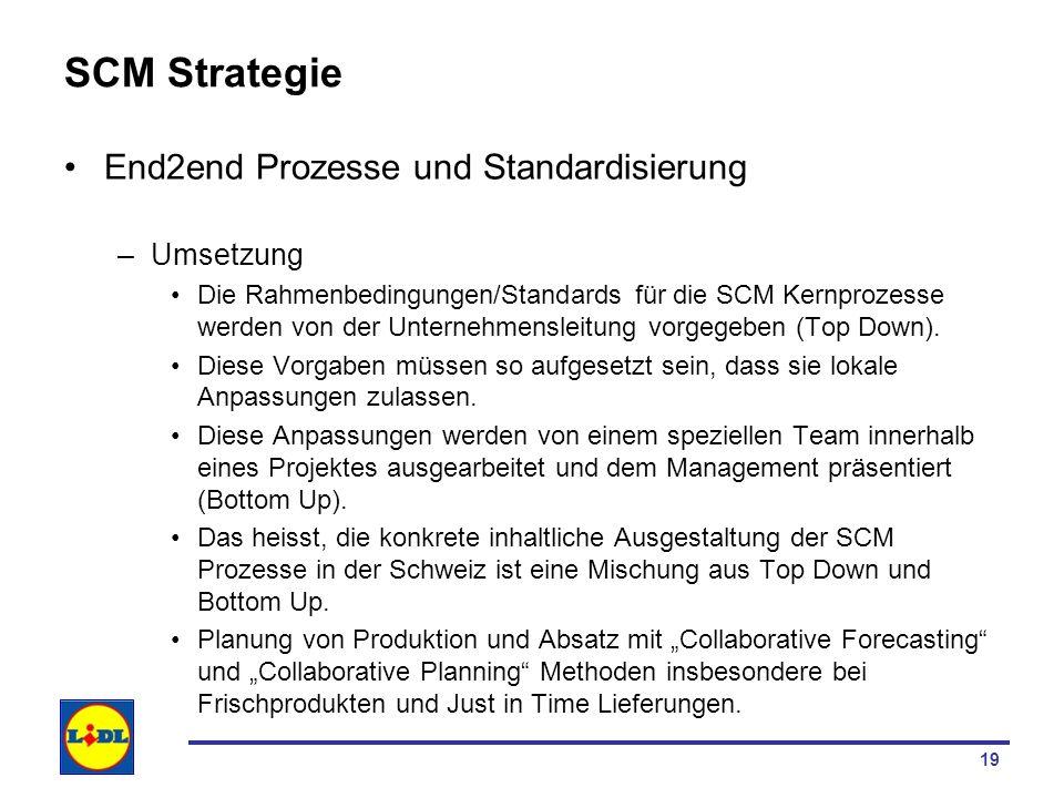 19 SCM Strategie End2end Prozesse und Standardisierung –Umsetzung Die Rahmenbedingungen/Standards für die SCM Kernprozesse werden von der Unternehmens