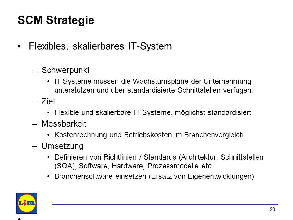 20 SCM Strategie Flexibles, skalierbares IT-System –Schwerpunkt IT Systeme müssen die Wachstumspläne der Unternehmung unterstützen und über standardis