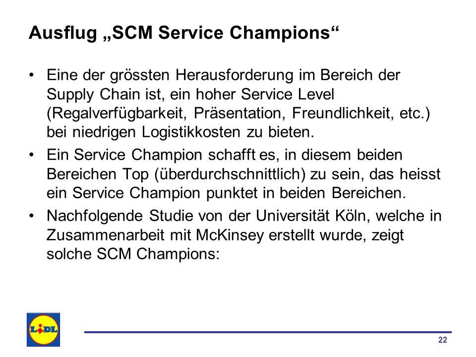22 Ausflug SCM Service Champions Eine der grössten Herausforderung im Bereich der Supply Chain ist, ein hoher Service Level (Regalverfügbarkeit, Präse