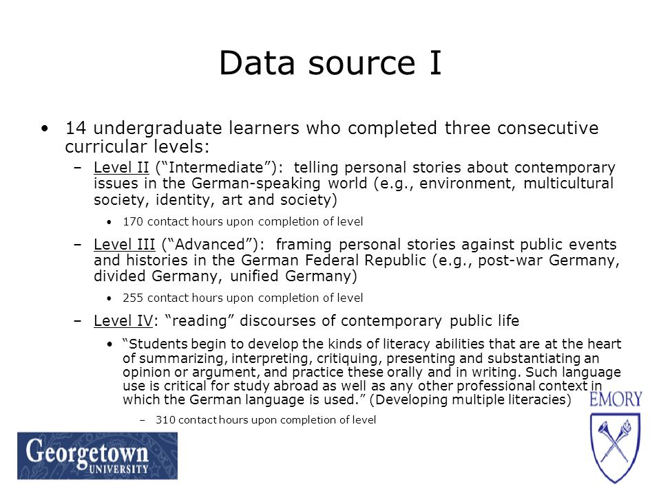 Data source II End-of-level prototypical performance writing tasks (PPTs) –Curriculum-dependent and pedagogy-embedded tasks that reflect content and language focus of particular level that are designed to elicit performances prototypical for end-of-level learners –Detailed task sheet divided into 3 categories Task appropriateness Content Language focus –Rough draft submitted to corpus