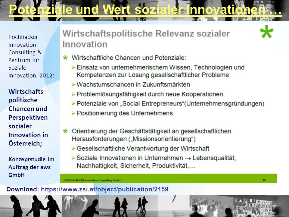 Pöchhacker Innovation Consulting & Zentrum für Soziale Innovation, 2012: Wirtschafts- politische Chancen und Perspektiven sozialer Innovation in Österreich; Konzeptstudie im Auftrag der aws GmbH Download: https://www.zsi.at/object/publication/2159 Potenziale und Wert sozialer Innovationen …