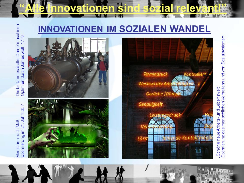 INNOVATIONEN IM SOZIALEN WANDEL Die berühmteste aller Dampfmaschinen:Optimiert durch James watt, 1776 Menschen nach Maß:Optimierung im 21.