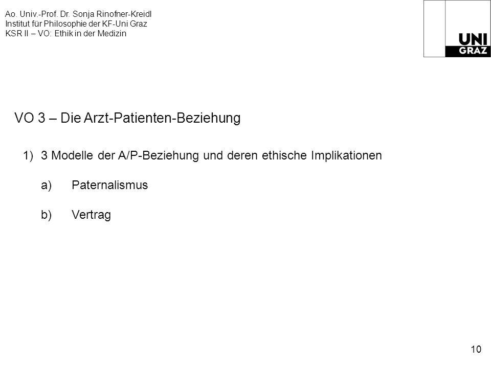 Ao. Univ.-Prof. Dr. Sonja Rinofner-Kreidl Institut für Philosophie der KF-Uni Graz KSR II – VO: Ethik in der Medizin 10 VO 3 – Die Arzt-Patienten-Bezi