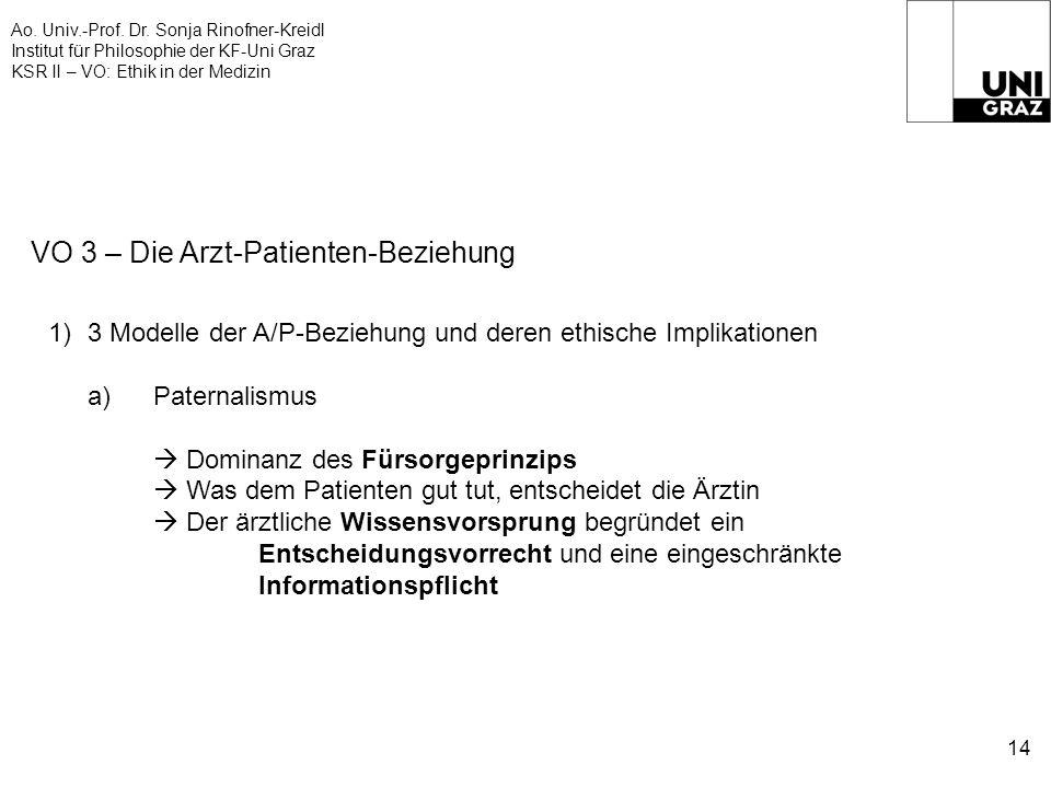 Ao. Univ.-Prof. Dr. Sonja Rinofner-Kreidl Institut für Philosophie der KF-Uni Graz KSR II – VO: Ethik in der Medizin 14 VO 3 – Die Arzt-Patienten-Bezi