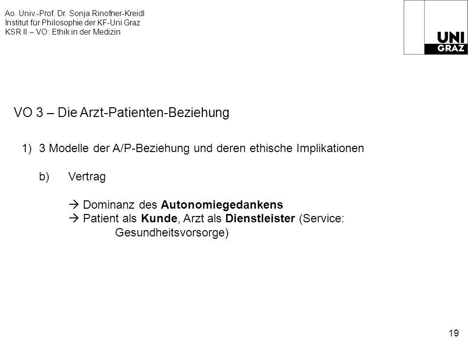 Ao. Univ.-Prof. Dr. Sonja Rinofner-Kreidl Institut für Philosophie der KF-Uni Graz KSR II – VO: Ethik in der Medizin 19 VO 3 – Die Arzt-Patienten-Bezi